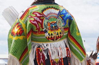 PowWow handmade dress with vibrant beadwork