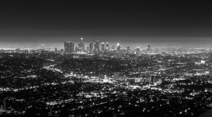 Downtown LA at night from Griffith Observatory, B&W