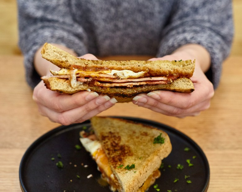 Bacon and Egg Sandwich Mystery L Cafe Toorak - Suzie Scribbles