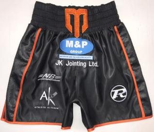 Liam Williams vs Liam Smith Black and Orange black satin Boxing Shorts