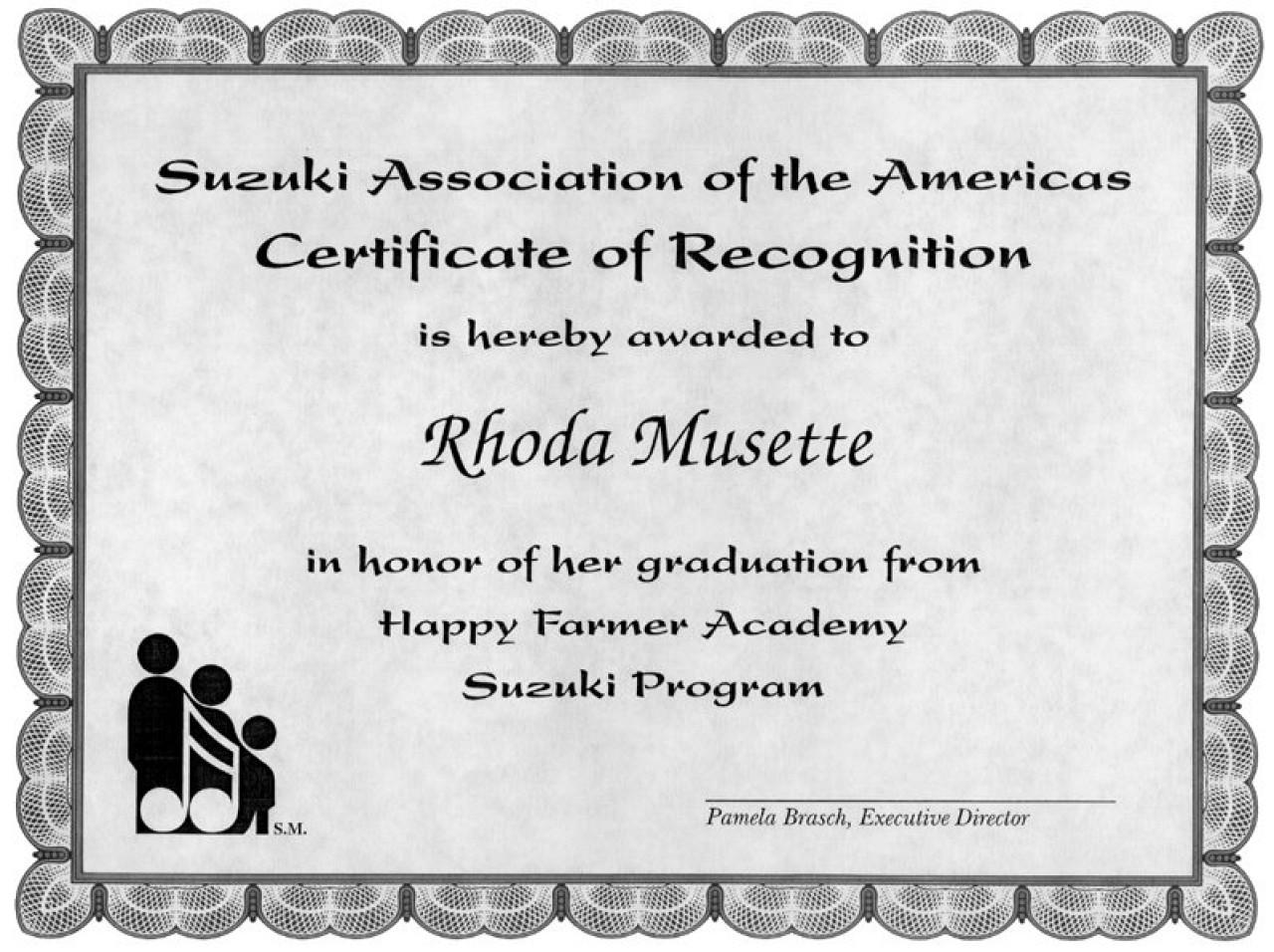 Graduation Certificates | Store | Suzuki Association of the Americas