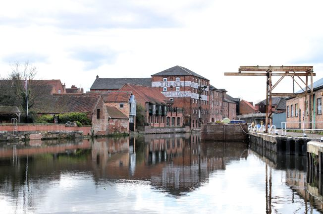 View down the river Trent towards the old warehouses and wharves