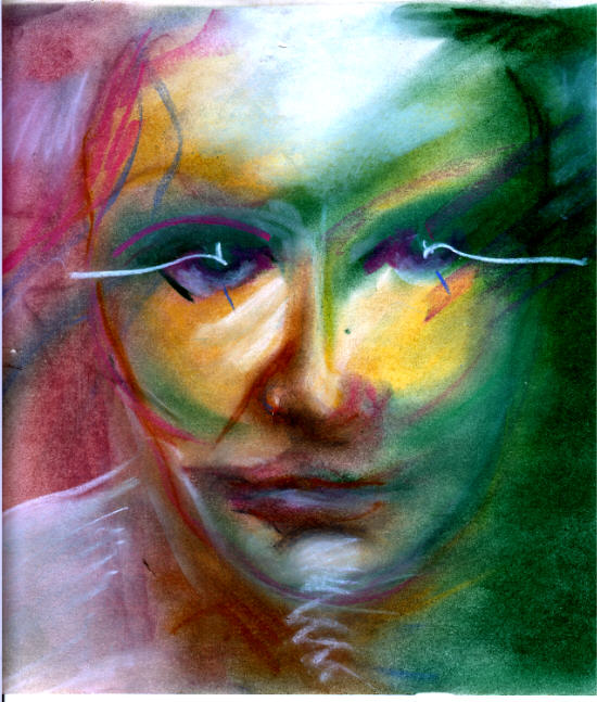 A quick-sketch self-portrait drawn with oil pastels.
