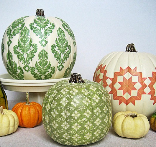 painted pumpkins #decoupage