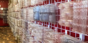 Candy molds on wall racks