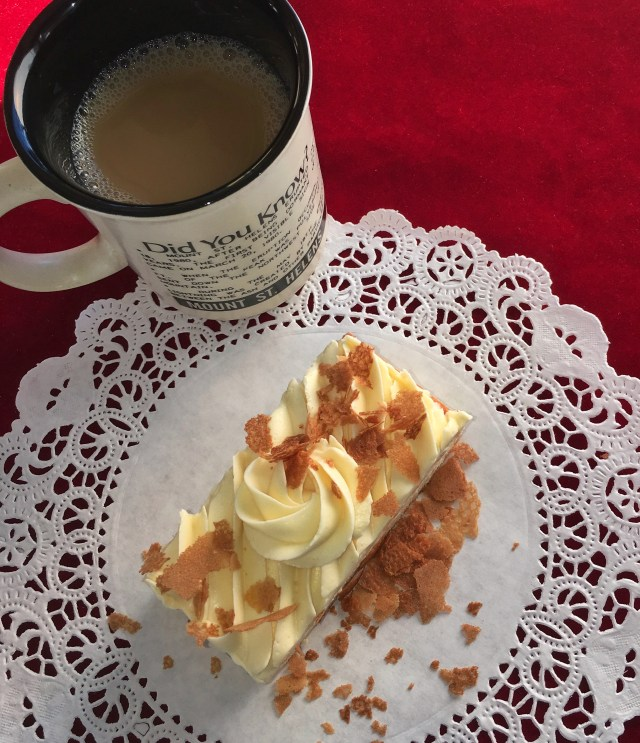 Crispy flakes and cake slice with coffee