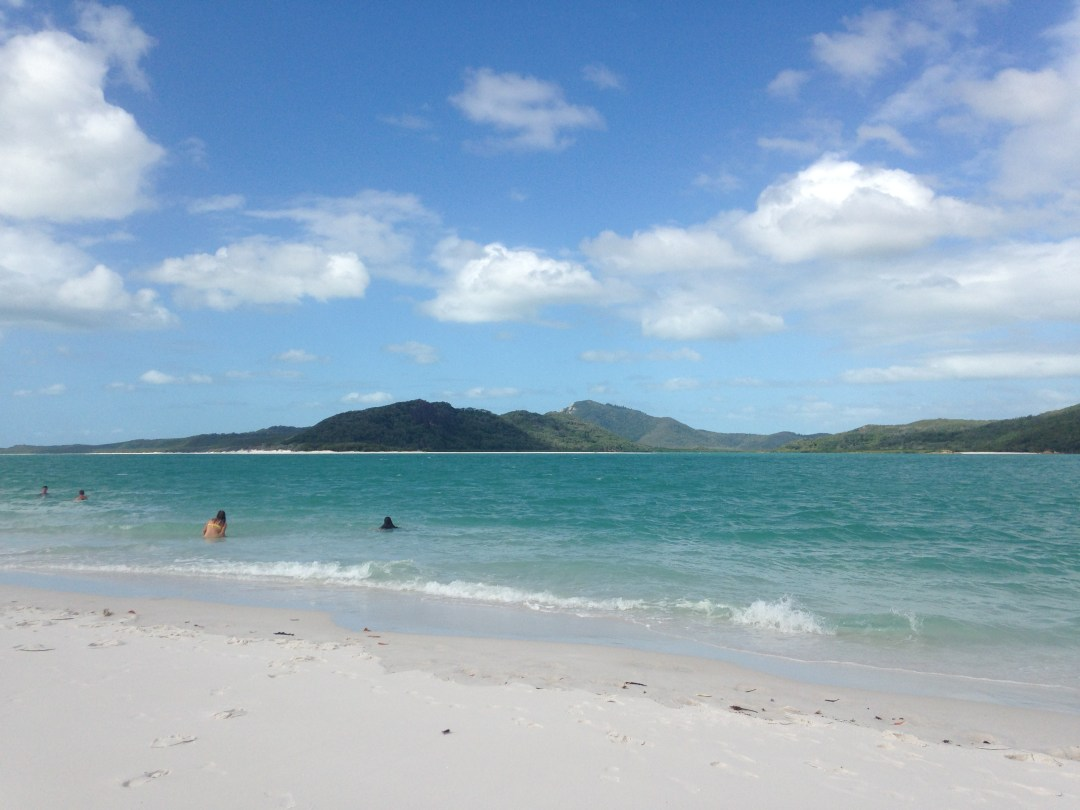 Beach views on a sunny morning on Whitehaven Beach, Australia