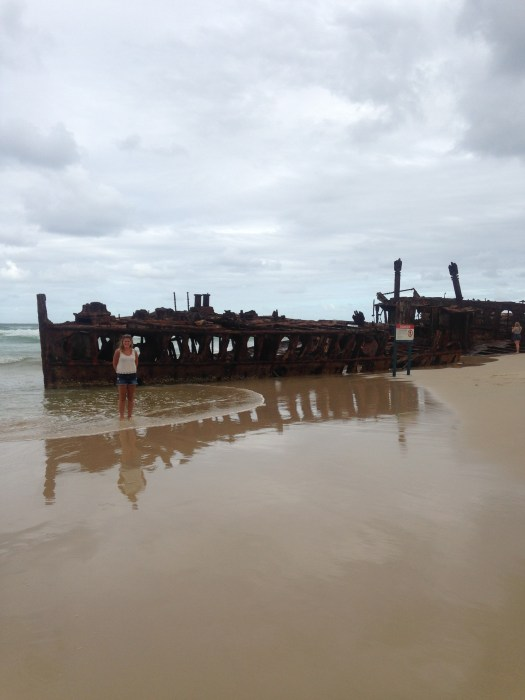 An overcast day making Maheno Shipwreck even more dramatic on Fraser Island