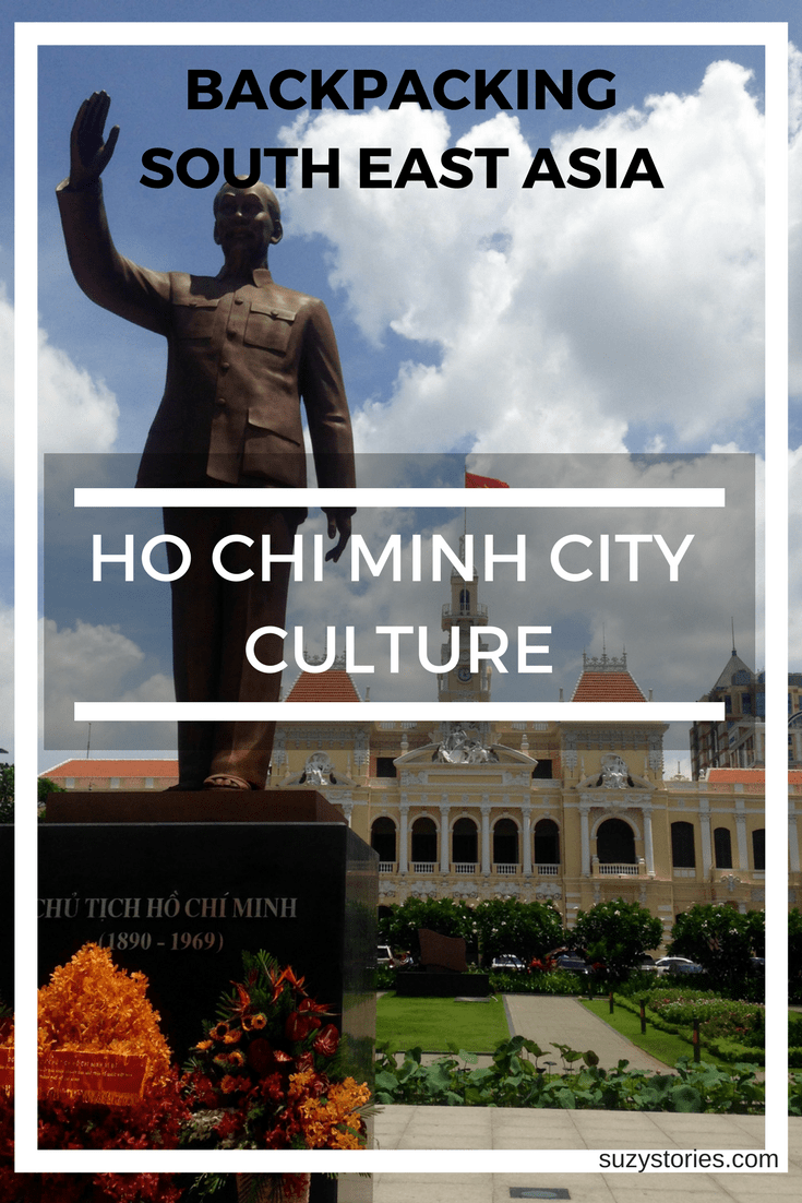 Text overlay building in Saigon with statue of Ho Chi Minh