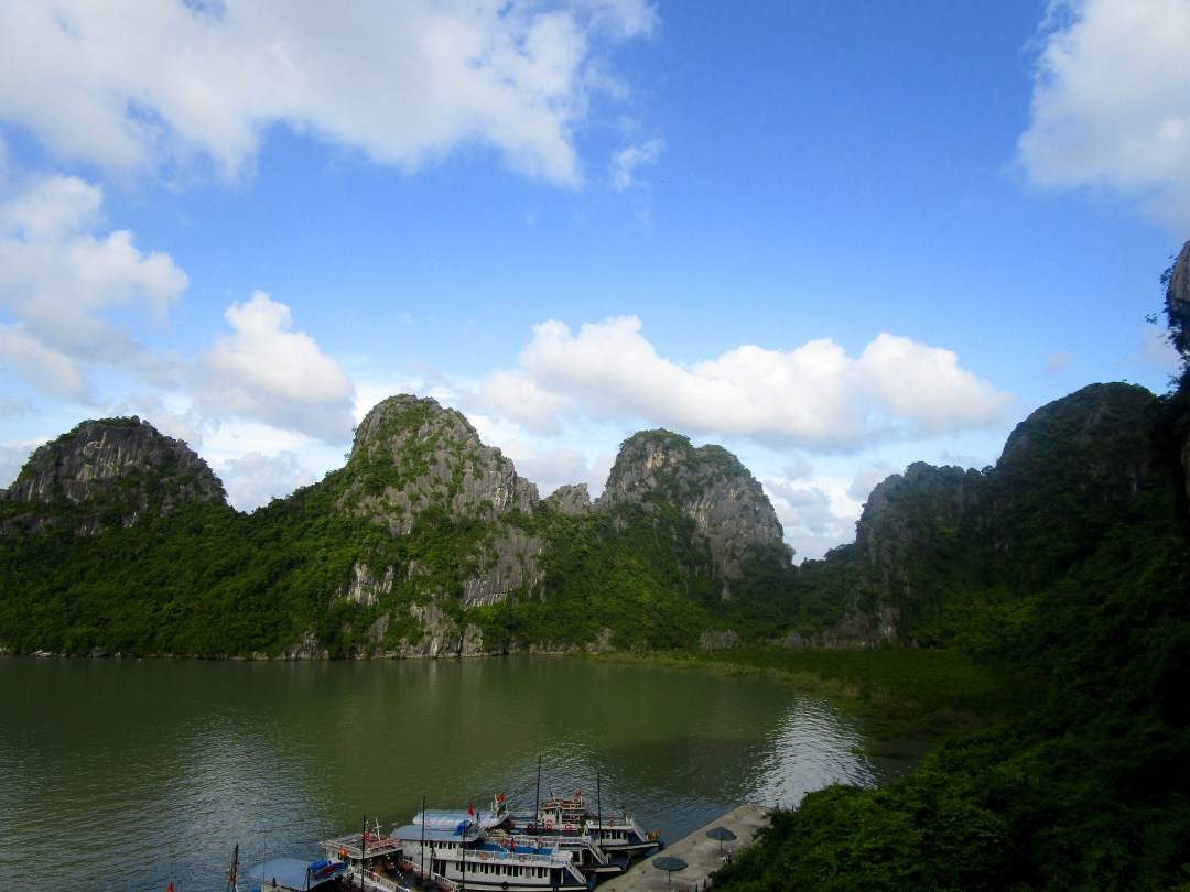 Overlooking the Halong Bay rocks and