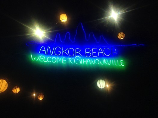 Lanterns and fairy ilghts shine at night welcoming visitors to Sihanoukville