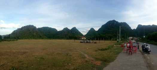 Panoramic view of the enclosing mountains in Vietnam