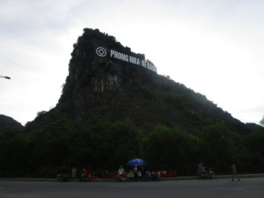 Phong Nha sign on the side of a mountain imitates the Hollywood Sign