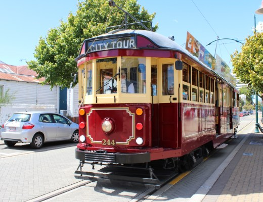 red tram in christchurch city centre