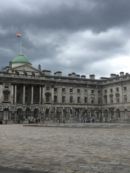 A moody overcast sky in the courtyard of Somerset House, London