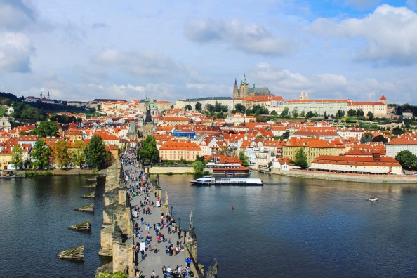 View from the top of the Old City Bridge Tower overlooking Charles Bridge and Prague Castle
