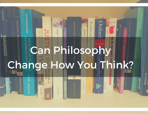 Title banner image with text over a bookcase of philosophical books