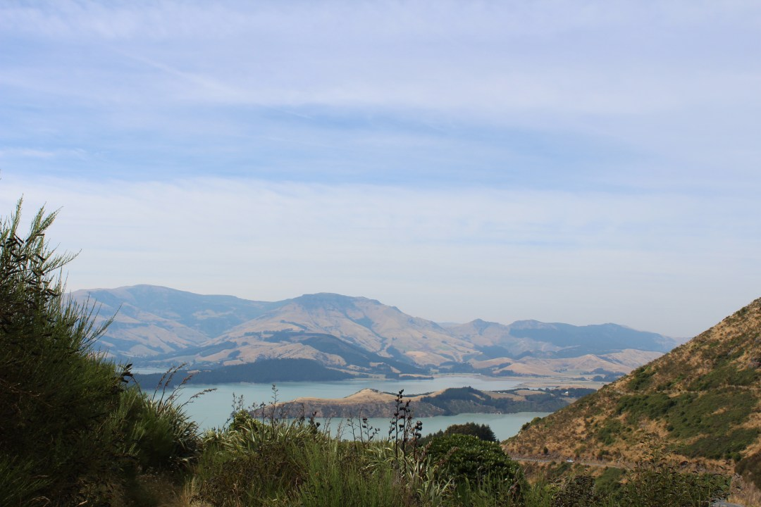 Volcanic bays create the jagged coastline of the Port Hills in Christchurch, New Zealand