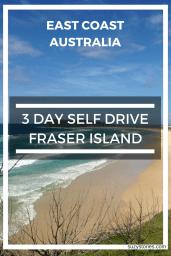 Text overlay 75 Mile Beach on fraser island in Australia