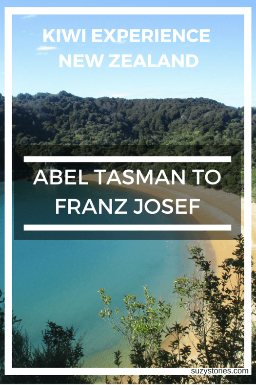 Text overlay of Abel Tasman bay in New Zealand