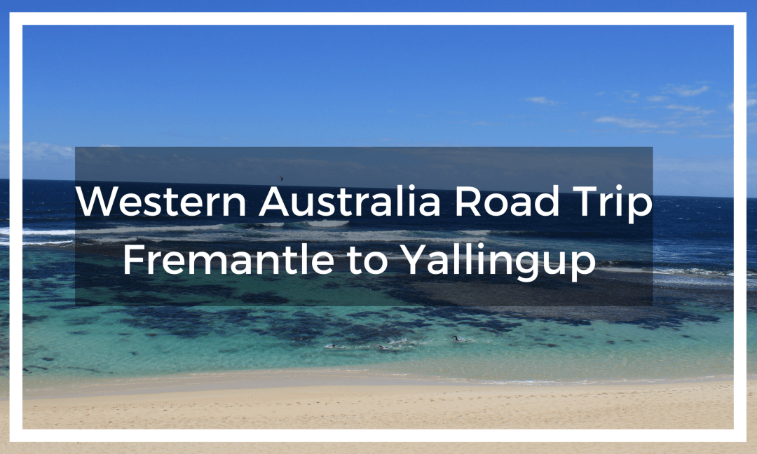 Title text overlay image of blue ocean and golden in sands in Yallingup Australia