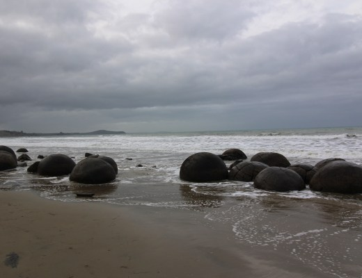 spherical boulders on beach