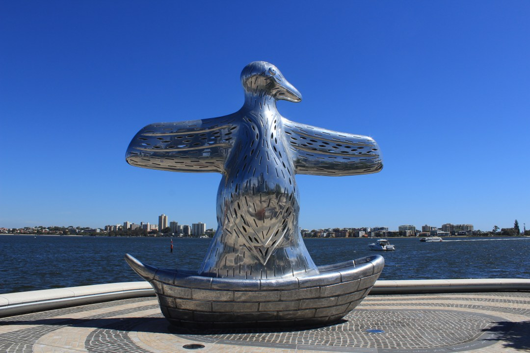 Best things to do in Perth - one day itinerary. First Contact statue, Elizabeth Quay