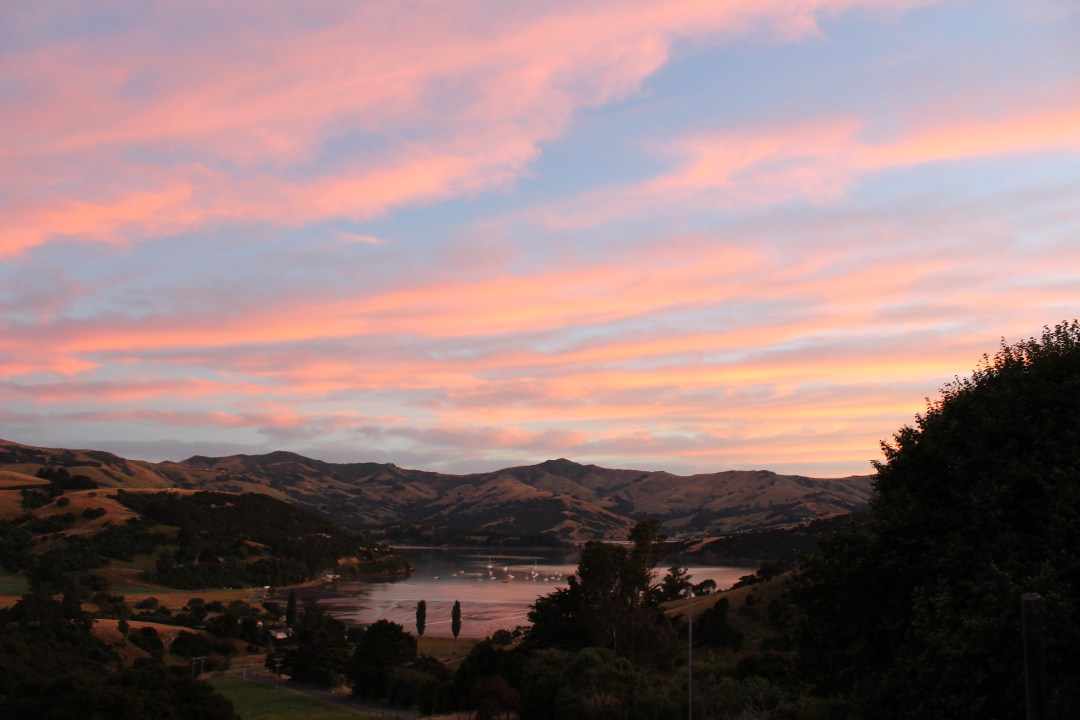 Bay views at sunrise in Banks Peninsula, Christchurch New Zealand