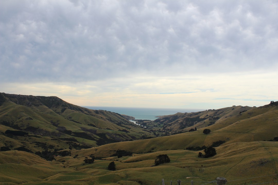 Coastal views overlooking bay in Banks Peninsula, Christchurch New Zealand