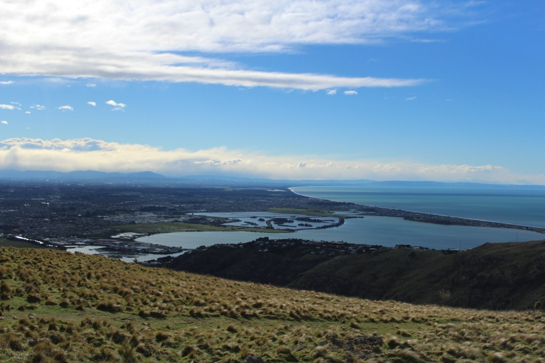 Coastal views overlooking Pacific Ocean and hills in Christchurch New Zealand
