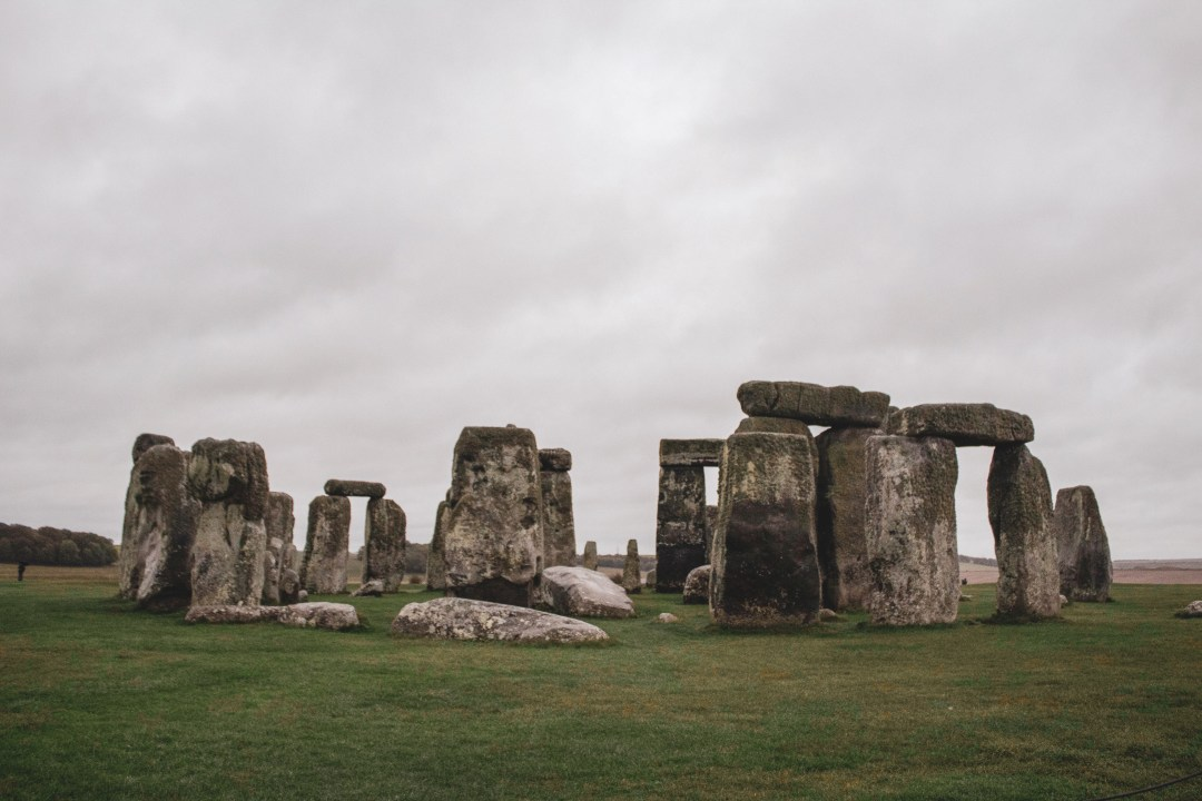 Close-up of Stonehenge on a rainy day