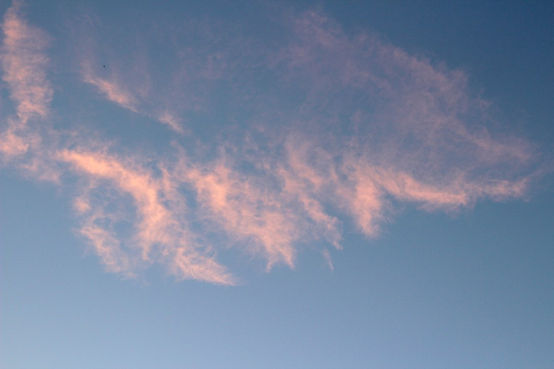 Pink clouds at sunset with blue skies