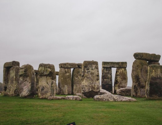 Stonehenge stones in the rain