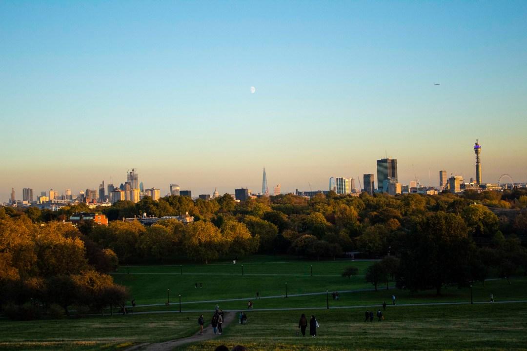 Sunset over London city skyline
