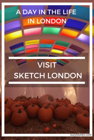 Interior of Sketch London toilets with pumpkins and futuristic lights
