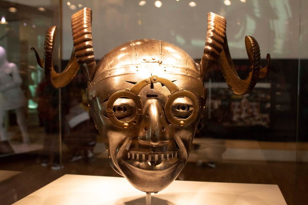 Henry VIII's horned helmet with grotesque bulging eyes and rams horns