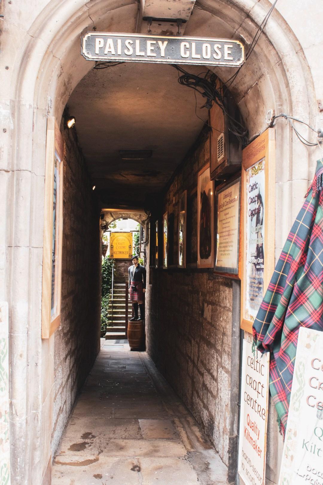Paisley Close narrow walkway leading to dimly lit courtyard