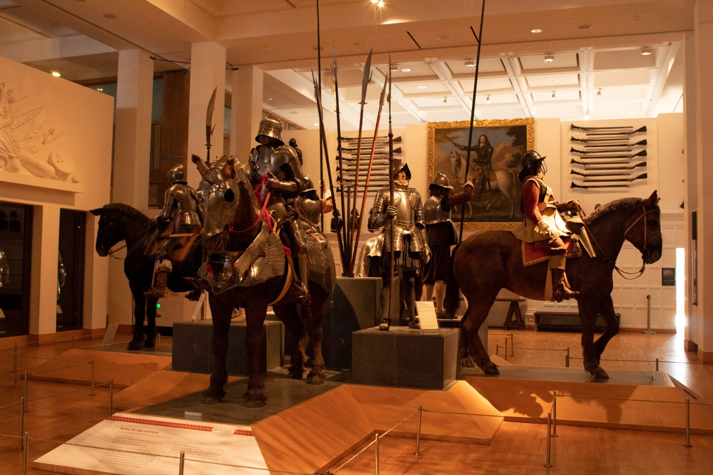Horse armour and museum displays at Royal Armouries Museum in Leeds