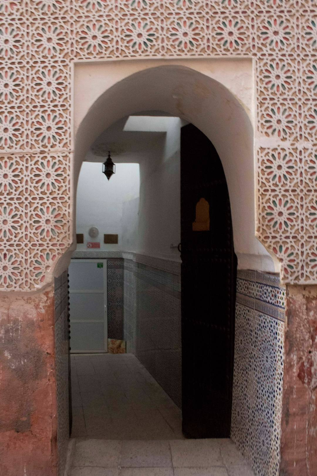 arched entrance to hammam in Marrakech