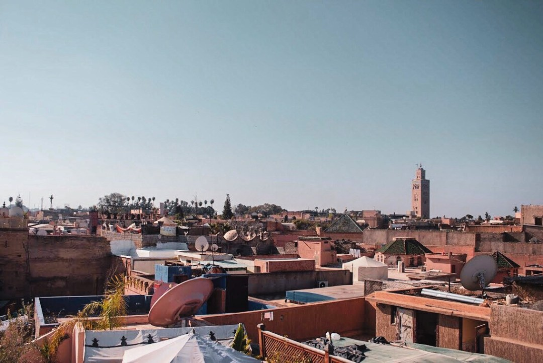 views over marrakech with mosque tower in distance