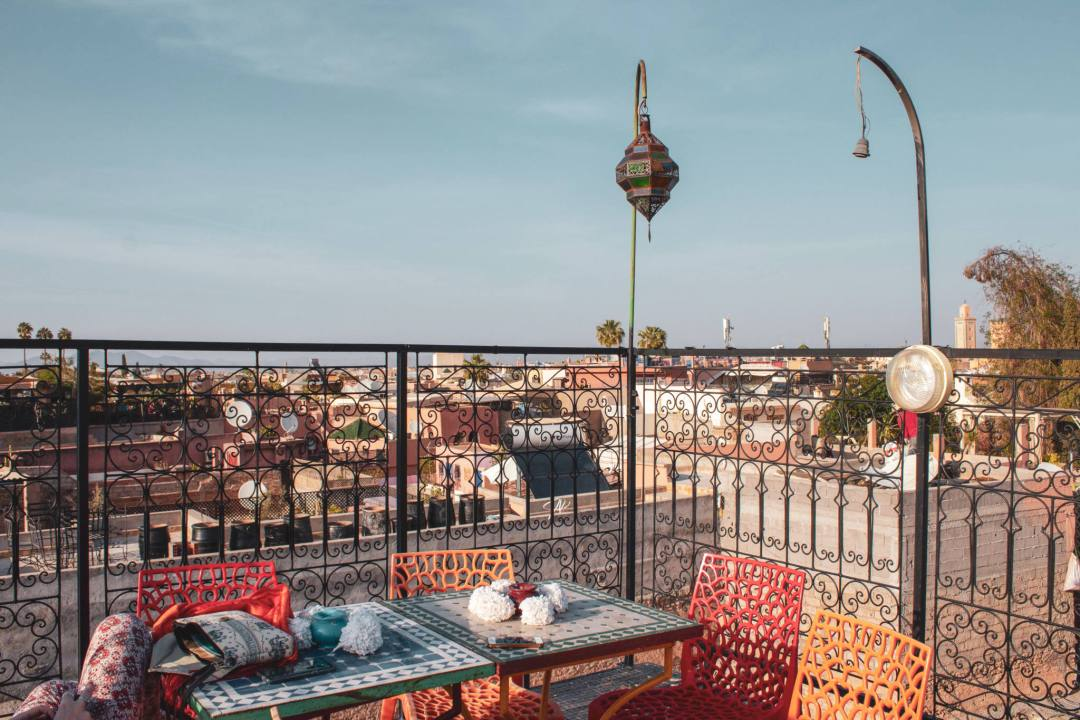 Rooftop terrace at Riad Layla Rouge
