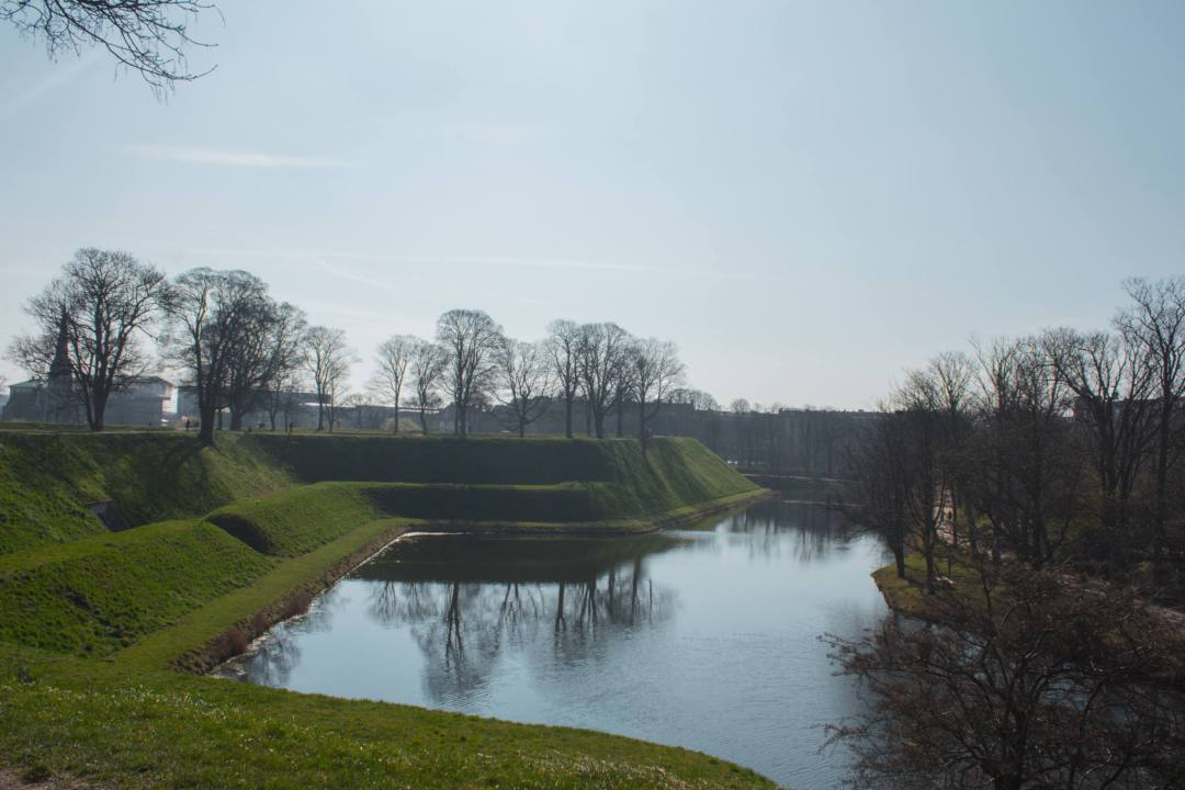 moat and grass bank around kastellet in Copenhagen