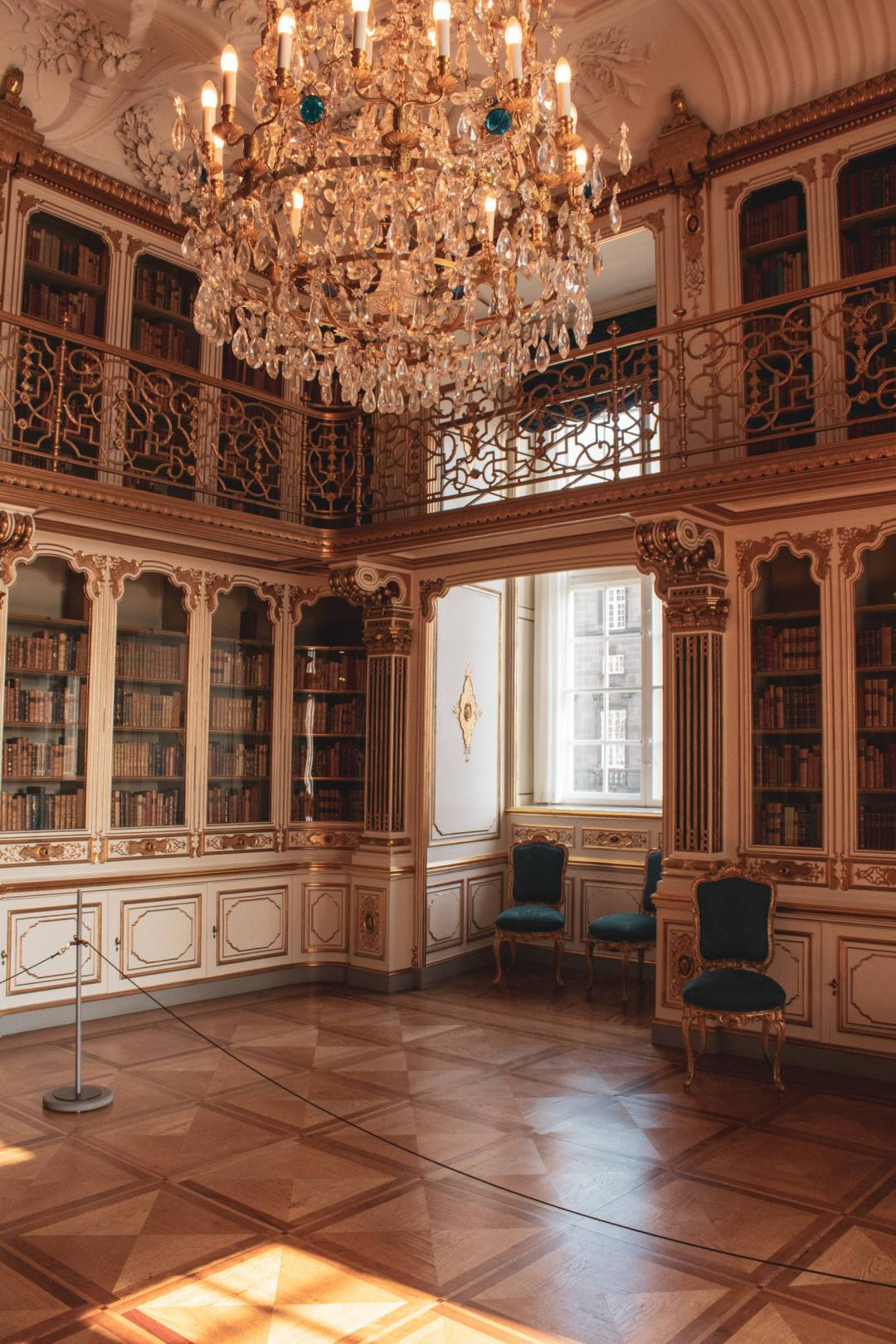 Library inside royal rooms of Copenhagen Palace