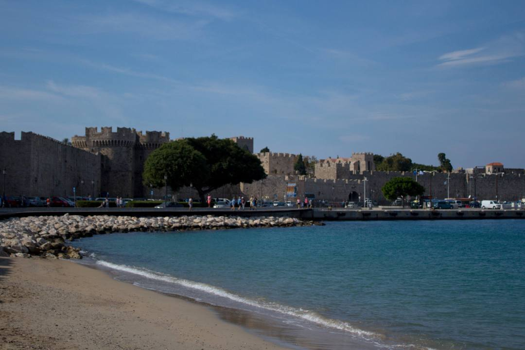Beach outside the city walls in Rhodes