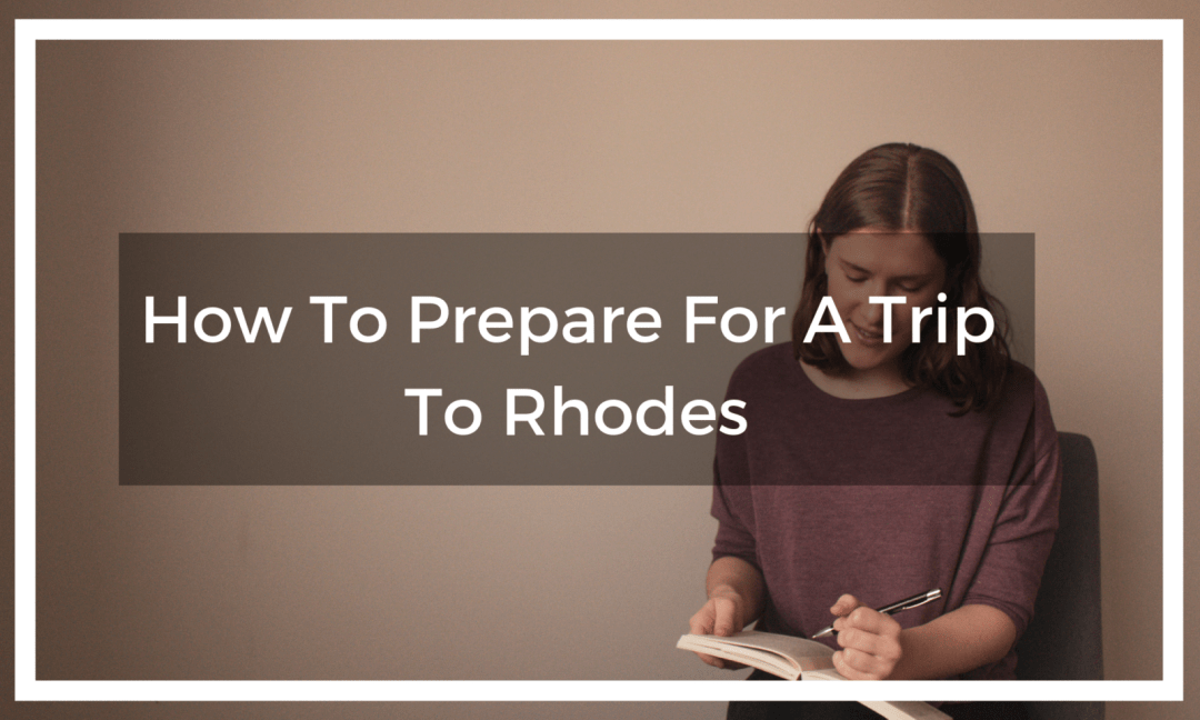 woman writes in guidebook planning a trip to rhodes