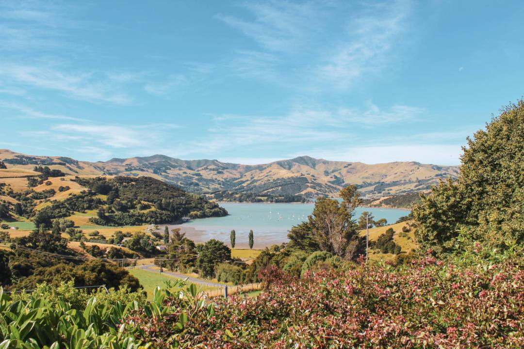 views over akaroa new zealand