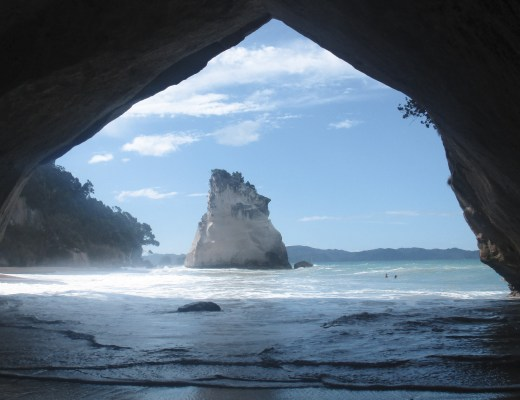 cove looking through to beach and large rocks