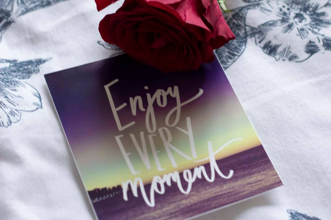 Enjoy every moment poster and rose