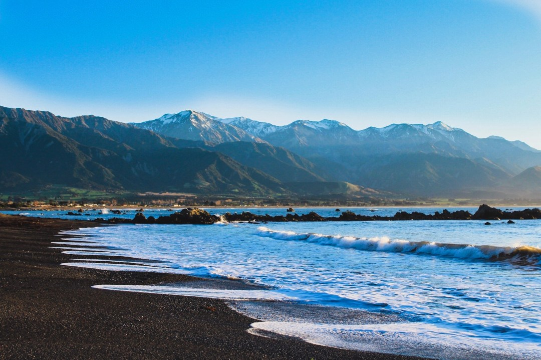 kaikoura beach at sunrise