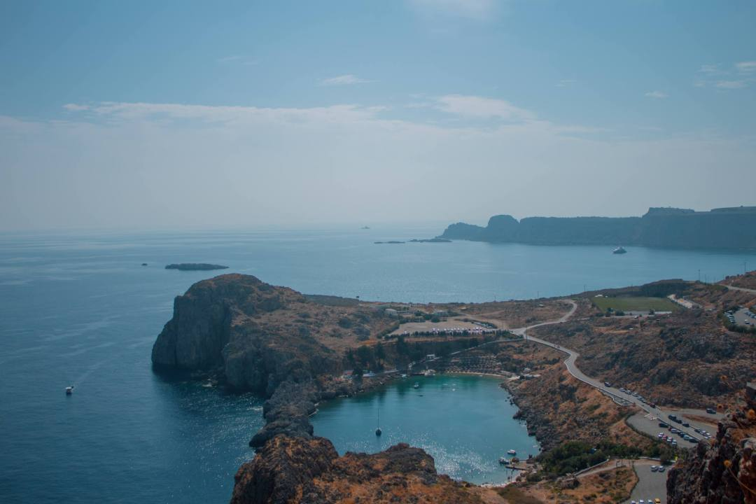 View over st pauls bay lindos from Acropolis